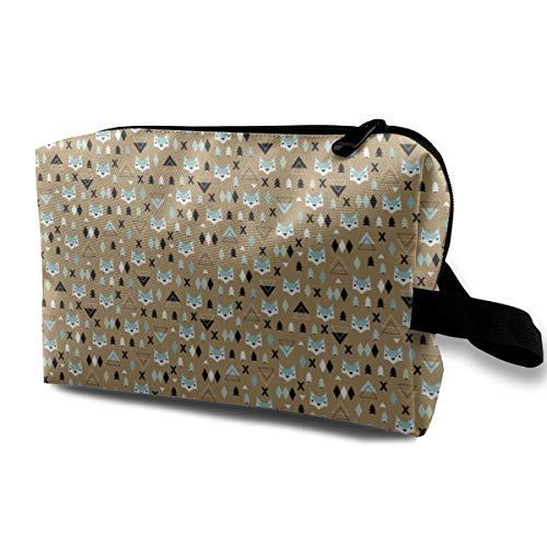 625 Mint - Funny 3D Printing women cosmetic bag Geometric Fox And Pine Tree Illustration Pattern Brown Mint Boys XS_625 Makeup Bags 4.9 x 6.3 x 10 inch