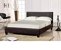 Prado Faux leather King Size 5.0 Ft Bedstead in Brown Colour (Frame Only) by PRADO DOUBLE BEDSTEAD 5.0 FT