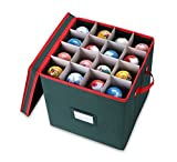Primode Holiday Ornament Storage Box Chest, With 4 Trays Holds Up to 64 Ornaments Balls, With Dividers (Green)