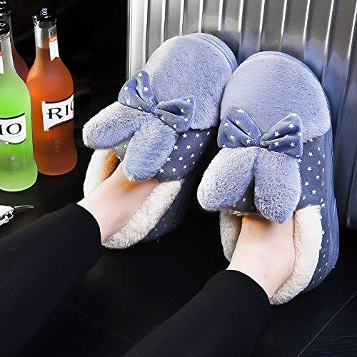 Calzatura fankou cotone pantofole inverno femmina ad alta busta con pelle pu addensamento alla fine del warm indoor anti-skid, 38/39 di 37/38 piedi usura, grigio di prua