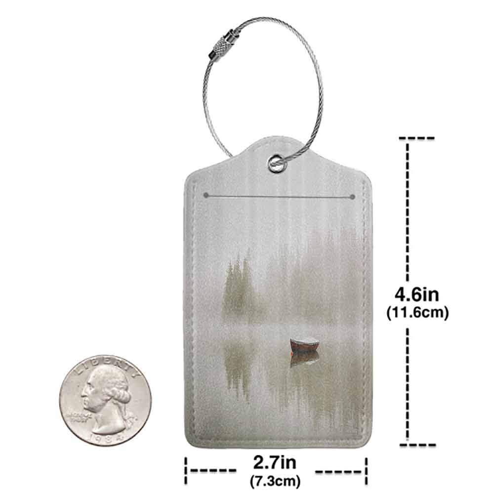 Durable luggage tag Landscape Boat on the Lake with Silhouettes of Trees on the Water Sky Nature Art Unisex Eggshell Brown Orange W2.7 x L4.6
