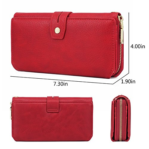 WOZEAH Women's PU Leather RFID Large Capacity Long Wallet Clutch Pures handbags Credit Card Holder Organizer Ladies Purse (red) by WOZEAH (Image #3)