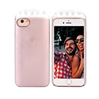 WaterLuu Led Illuminated Cell Phone Case for Samsung Galaxy S7 Edge Only - Good for Bright Selfie (Rose Gold)