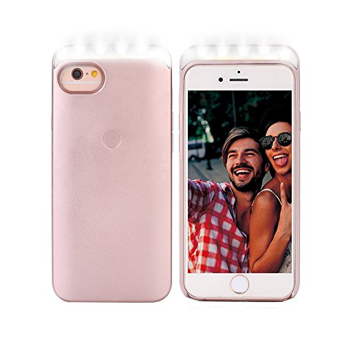 LED Light Up Selfie Case Illuminated Cell Phone Case Cover Rechargeable Power Bright Selfie with Soft Lights &Touch Key-Press for iPhone 6/6s/7/8, Rose Gold