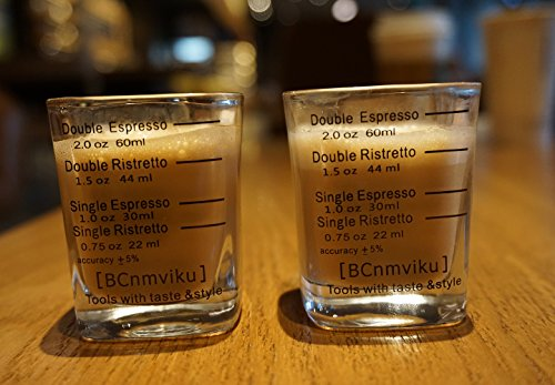 BCnmviku Espresso Shot Glasses Measuring Cup Liquid Heavy Glass for Baristas 2oz for Single Shot of Ristrettos (2 pack) by BCnmviku (Image #6)