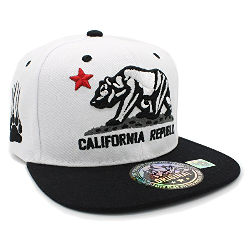 Embroidered CALIFORNIA REPUBLIC with BEAR CLAW SCRATCH Snapback Cap (WHITE/BLACK) by LAFSQ