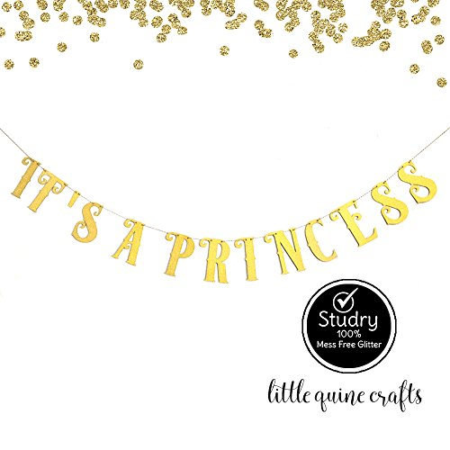 (IT'S A PRINCESS Gold Glitter Banner for Baby Shower Birthday Girl)