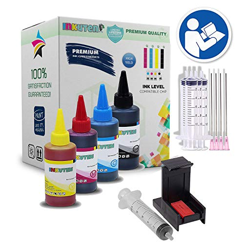 (INKUTEN COMPLETE Refill Kit for HP 63 HP63XL Ink Cartridges, With 4x 100ml Premium dye Ink, Syringes/Needles and Suction Priming Clip)