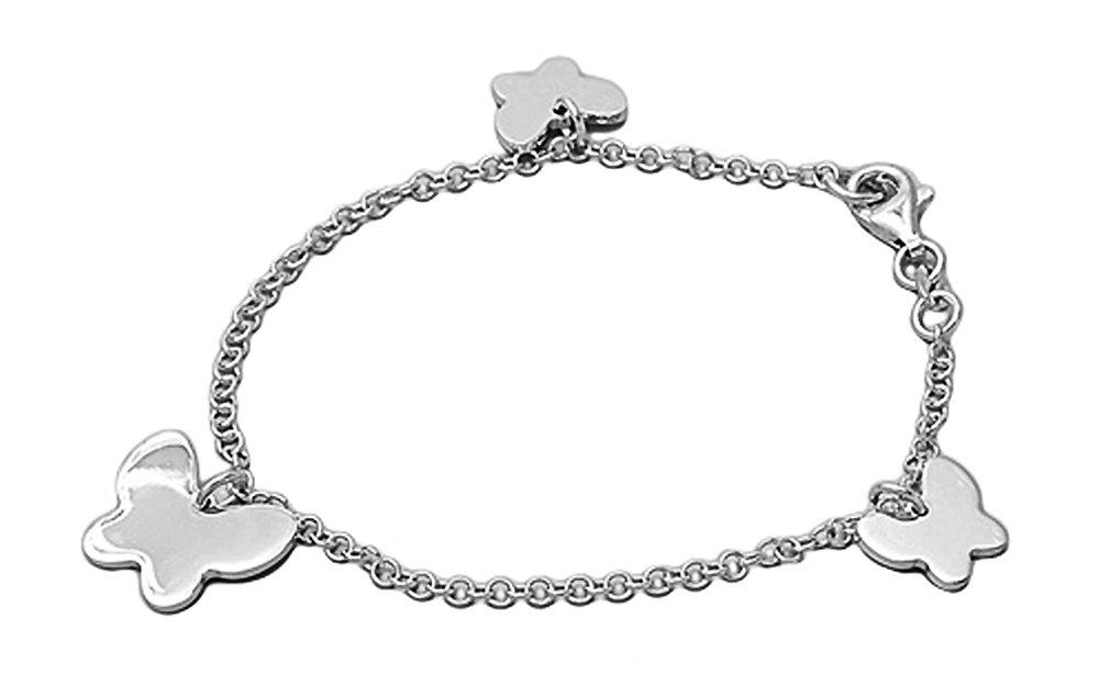 Sterling Silver (.925) Italian Charm Bracelet with Butterflys - Length: 7'' - Italian Design