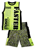 RBX Active Boy's 2 Piece Printed Tank Top and Basketball Short Set ,Neon Yellow,Age 5-6,M