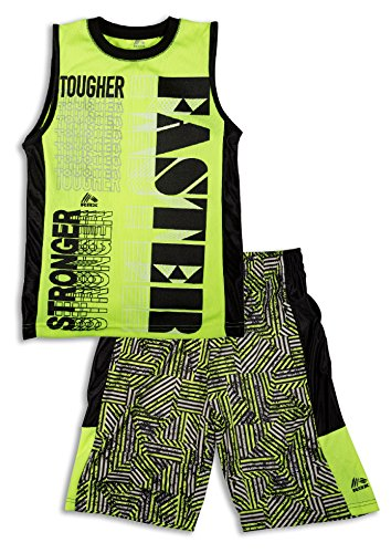 2 Piece Basketball Shorts (RBX Active Boy's 2 Piece Printed Tank Top and Basketball Short Set ,Neon Yellow,Age 7,L)