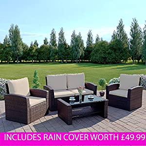 Abreo Brown Rattan Garden Furniture Sofa Set Brown Sofa Wicker Weave 4 Seater Patio Conservatory