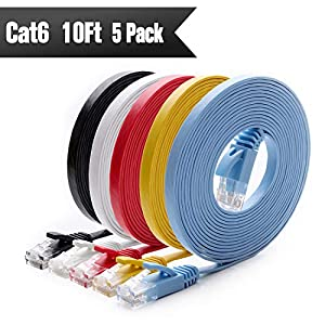 Cat 6 Ethernet Cable 10 ft (5 Pack) (at a Cat5e Price but Higher Bandwidth) Cat6 Internet Network Cable Flat – Ethernet Patch Cables Short – Computer LAN Cable with Snagless RJ45 Connectors