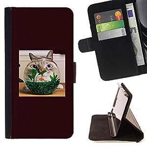 KingStore / Leather Etui en cuir / Samsung Galaxy S4 Mini i9190 / Gato Goldfish animal doméstico divertido animal doméstico de Brown felina