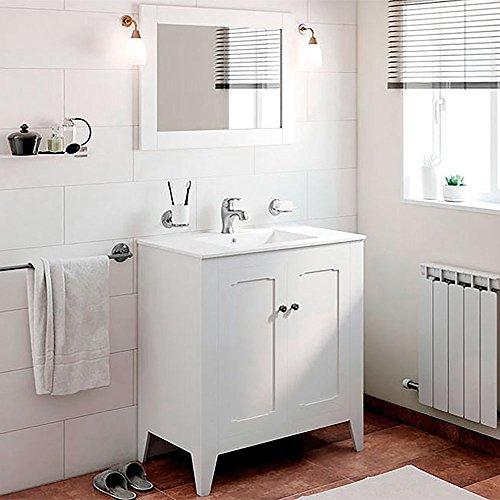 Randalco 32'' Boho Classic Vintage Bathroom Vanity Cabinet Set, White | W 32 x H 35 x D 18 Inch Vanity + Ceramic Counter Top + Mirror by Randalco