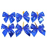 Edtoy 12pcs Christmas Tree Bow Decoration Baubles Merry XMAS Party Garden Bows Decor Ornament Blue