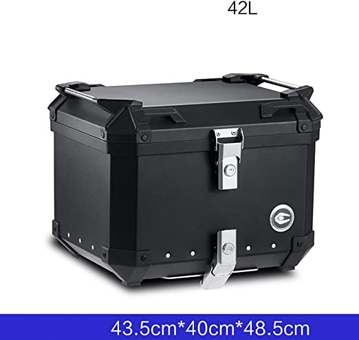 LCF Estuche Superior Caja De Cola De Motocicleta De Aleación De Aluminio Grande, Caja De Almacenamiento De Herramientas De Maletero De Moto Negra con Placa De Cola Universal: Amazon.es: Hogar