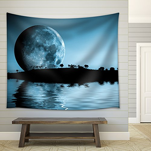 Night Landscape with Moon and Lake Fabric Wall Tapestry