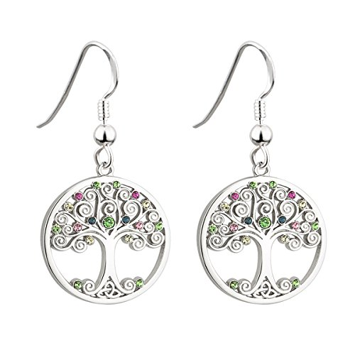 Biddy Murphy Tree of Life Earrings Rhodium Plated Colored Crystals Irish Made