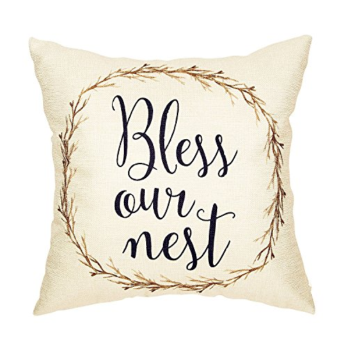 Acelive 18x18 Inches Rustic Bless Our Nest Vine Wreath Vintage Country Style Retro Farmhouse Quote Gift Cotton Linen Home Decorative Throw Pillow Case Cushion Cover With Words For Christmas Gift (Christmas Country Wreaths Style)