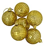 "Pack of 6 Gold Mirrored Glass Disco Ball Christmas Ornaments 3.25"" (80mm)"