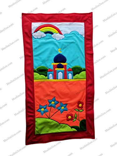 MY LITTLE PRAYER RUGS FOR MUSLIM KIDS COLORFUL HANDMADE CHILDREN'S PRAYER SAJADAH MAT FOR BOYS  GIRLS (RAINBOW FLOWERS ORANGE)