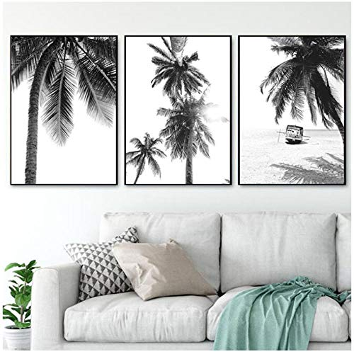 XIXISA Nordic Tropical Palm Tree Canvas Painting Black White Beach Poster Print Landscape Wall Art Picture for Living Room Home Decor 5070cm No Frame