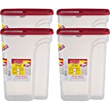 Rubbermaid Flip Top Cereal Keeper, Modular Food Storage Container, BPA-free, 22 Cup, Red, 4-Pack