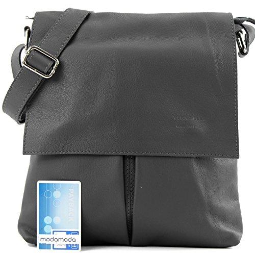 modamoda de ital. Messenger épaule sac sac dames en cuir grande T75 Anthracite