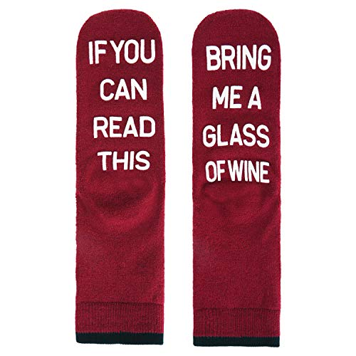 Funny Novelty Thick Cushion Wool Wine Socks, If You Can Read This Non-slip Winter Slipper Crew Socks for Men ()