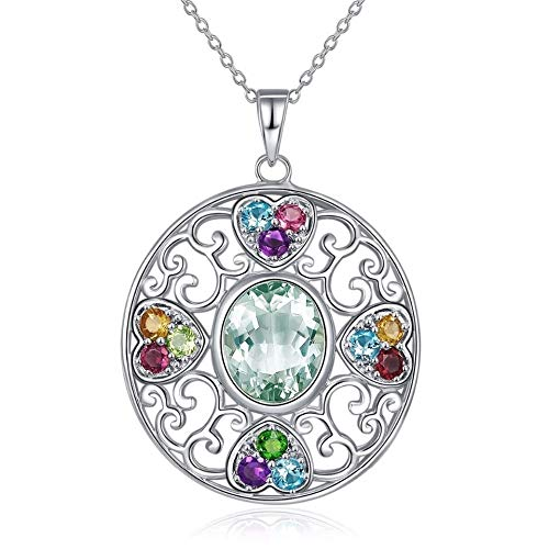 (Nattaphol Multi Stone Jewelry Natural Gemstone Green Amethyst Garnet Solid 925 Sterling Silver Pendant Necklace Fine Jewelry Gift)