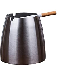 Oilp Large Windproof Ashtray For Cigarettes Outdoor Ashtrays For Patio  Beautiful Tabletop No Smoke Stainless Steel