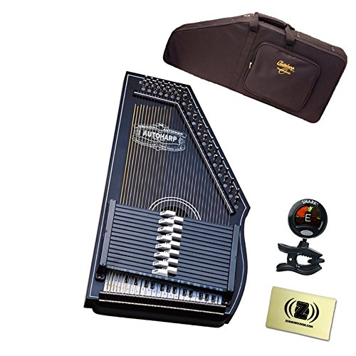 Oscar Schmidt OS73B 1930's Reissue 15 Chord Autoharp Bundle - Includes Semi-Hardshell Backpack Case, Tuner, and Polishing Cloth - Black by Oscar Schmidt