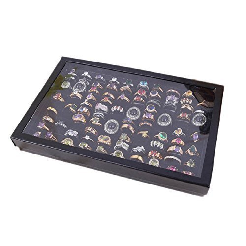 (Lookatool Jewelry Rings Display Tray Velvet 100 Slot Case Box Jewelry Storage Box)