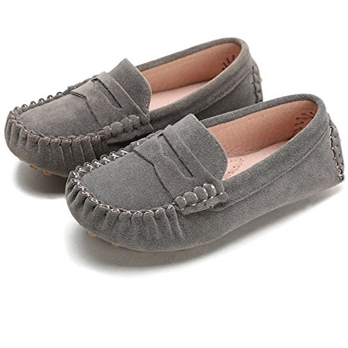 Battle Men Little Kids Penny Loafers Flat Heel Slip On Toddler's Shoes For Boys & Girls Causal Comfortable (Color : Gray, Size : 6.5 M US ()