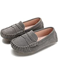 Little Kids Penny Loafers Flat Heel Slip On Toddler's Shoes For Boys & Girls Causal Comfortable (Color : Gray,...