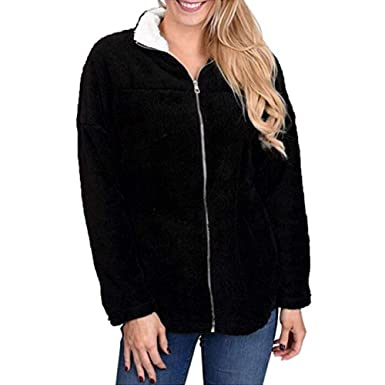 2963542e26b Amazon.com  Seaintheson Women Fluffy Lapel Zip up Coat Clearance ...