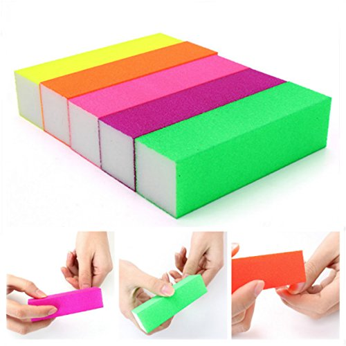 Nail Tools - 5pcs Fluorescent Color Buffing Sanding Nail Files Block Manicure Tool - Buffing Nails Nail Buffer Block File Files Buffers Acrylic Brh Sanding Salon Manicure