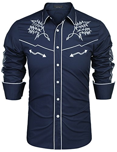 (JINIDU Men's Long Sleeve Embroidered Shirt Casual Slim Fit Button Down Western Shirts Blue)