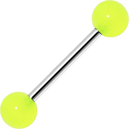 Body Candy Pastel Yellow Acrylic Over Steel Barbell Tongue Ring