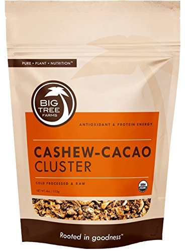 Big Tree Farms Organic Cashew-Cacao Sweet Nibs Clusters, Cold Processed, Raw, Non-GMO, Vegan, Superfood, Healthy Energy Snack, 4 (Big Snacks)