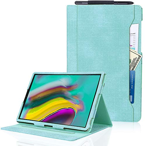 Samsung Galaxy Tab S5e 10.5 Case (2019), Toplive Canvas Stand Folio Case Cover for Galaxy Tab S5e 10.5 with Auto Sleep Wake Function and Multiple Viewing Angles, Mint Green ()