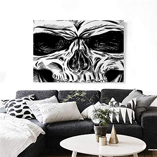 homehot Halloween Wall Paintings Gothic Dead Skull Face Close Up Sketch Evil Anatomy Skeleton Artsy Illustration Print On Canvas for Wall Decor 28