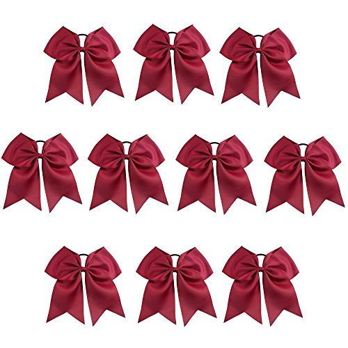 CN Girls Cheerleading Bow with Ponytail Holder for Cheerleading Girl Pack of 10