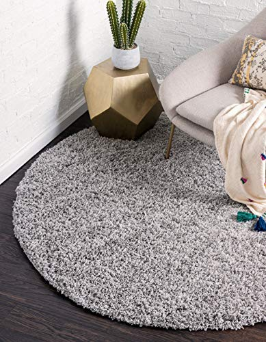 Unique Loom Solo Solid Shag Collection Modern Plush Cloud Gray Round Rug (6' 0 x 6' 0)