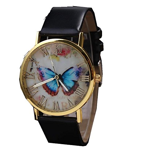 Womens Butterfly Style Leather Band Analog Quartz Wrist Watch Black - 9