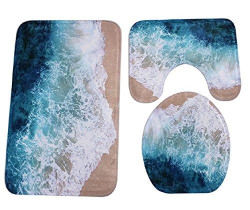 Homespun Set Of 3 Piece Beach Blue Brown Pattern Bathroom Set Carpet Absorbent Non-Slip Pedestal Rug + Lid Toilet Cover + Bath Mat (Cake Ideas For Dads Birthday)