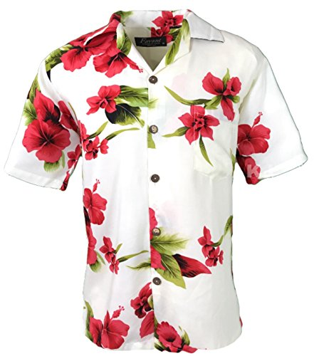 Tropical Luau Beach Floral Print Men's Hawaiian Aloha Shirt (X-Large, White/Red) ()