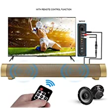 Zyoda Bluetooth Small Sound Bar 4.0 Channel 15.7in 10W(2X5W) Wireless Subwoofer Stereo Speaker,Gold?with Remote Control?