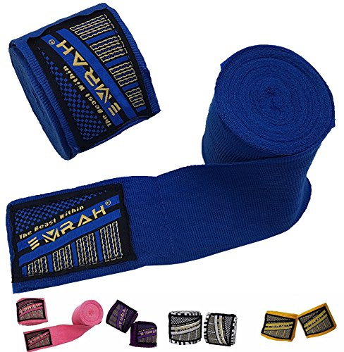 EMRAH Boxing Hand Wraps (Pair) 4.5M, 180 INCH Mexican Bandage Muay Thai PRO Wrap Kickboxing Glove Stretchy Bandages Premium MMA Training Workout Cotton